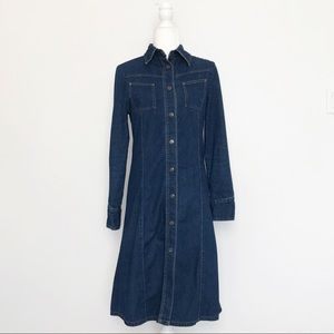 Vintage 90s Brody Denim Button Up Midi Dress Small